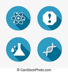 Attention and DNA icons. Chemistry flask.
