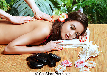 aromatherapy - Manual therapy. Beautiful young woman getting...