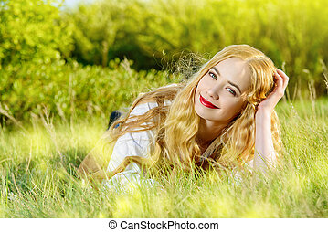 appealing - Lovely smiling young woman with magnificent...