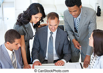 Business team discussing a project in office - Multiu-ethnic...