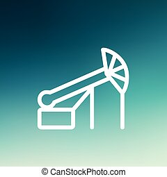 Pump Jack Oil Crane thin line icon - Pump jack oil crane...