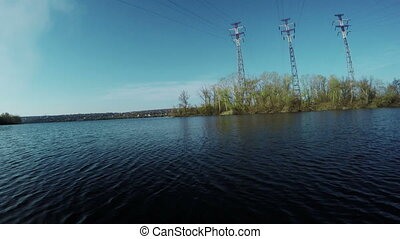Mast power lines - Standing Island on Dnepr power lines