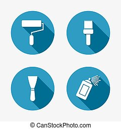 Paint roller, brush icon. Spray can and Spatula. - Paint...