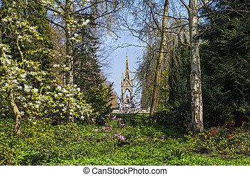 View of Albert Memorial through Kensington Gardens in London