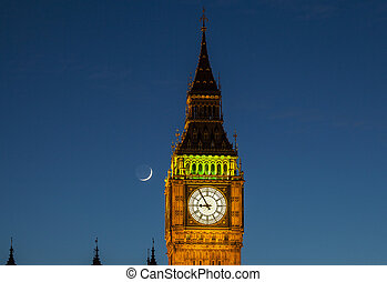 Big Ben and the Moon at Dusk - A close-up view of the clock...