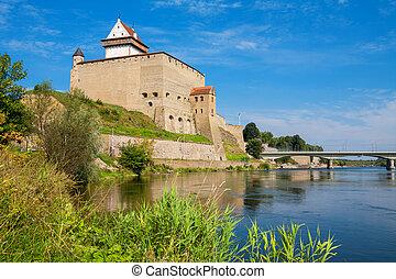 Narva fortress. Estonia, EU - Fortress over the river....