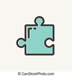 Jigsaw Puzzle thin line icon - Jigsaw puzzle thin line iconw...