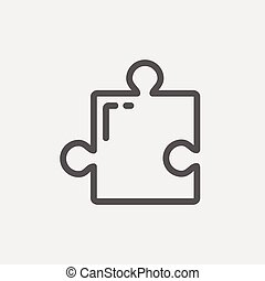 Jigsaw Puzzle thin line icon - Jigsaw puzzle icon thin line...