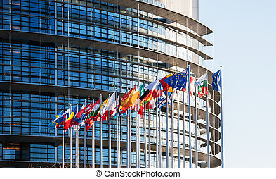 All European Union flags in front of parliament eu - All EU...