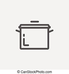 Casserole thin line icon - Casserole icon thin line for web...