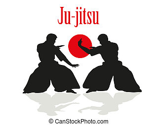 Two men are engaged in Ju-jitsu fight