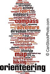 Orienteering word cloud concept. Vector illustration