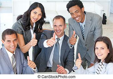cima, polegares, negócio, escritório, equipe