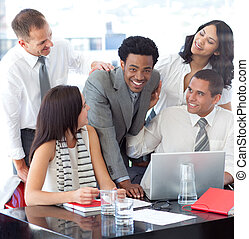 Successful business team working all together - Multi-ethnic...