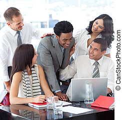 Successful business team working together in office -...