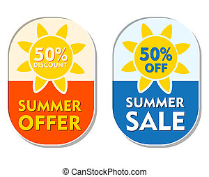 summer offer and sale 50 percent off discount, two...