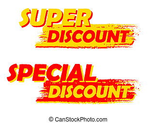 super and special discount, yellow and red drawn labels -...