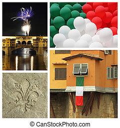 150, 義大利, 拼貼藝術,  -, 週年紀念,  TH, 首都, 佛羅倫薩