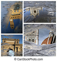 beautiful mirrored landmarks of Florence in puddles Old...