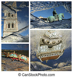 wonderful reflection of florentine landmarks collage