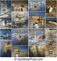 Florence art collage made of landmarks mirrored in the puddles,