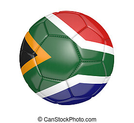 Soccer ball with South Africa flag - Realistic sports item...