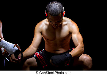 Latin Fighter Preparing - Latin boxer or mma fighter looking...