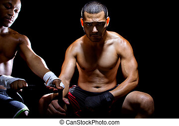Latin Fighter Preparing - Motivated Latin MMA fighter or...