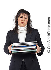 Busy business woman carrying stacked files over a white...