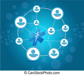 medical network and communication concept illustration...