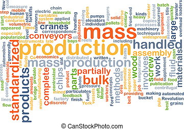 Mass production wordcloud concept illustration - Background...