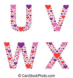 Hearty UVWX - Letters U, V, W, and X filled with colorful...