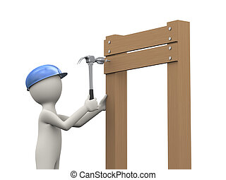 3d worker hitting a nail - 3d illustration of construction...