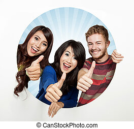 Three happy student come out from a white circle, thumbs up...