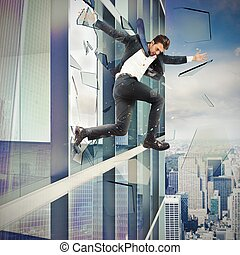 Escape by jumping off - Businessman escapes by jumping off a...