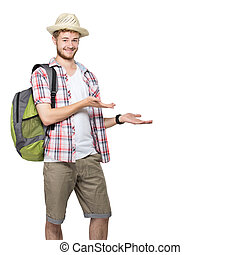 young traveling man presenting