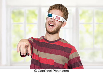 happy man with 3d movie glasses celebrating new movie