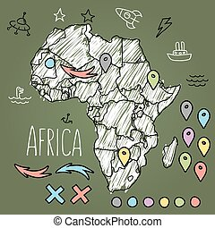Doodle Africa map on green chalkboard with pins and extras...