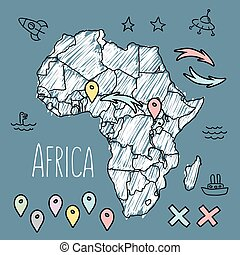 Doodle Africa map on blue chalkboard with pins and extras...