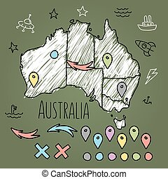 Doodle Australia map on green chalkboard with pins and...