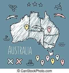 Doodle Australia map on blue chalkboard with pins and extras...