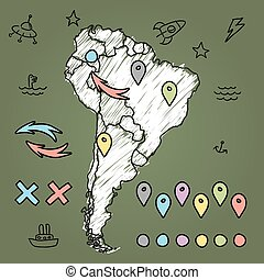 Doodle South America map on green chalkboard with pins and...
