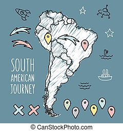 Doodle South America map on navy blue chalkboard with pins...