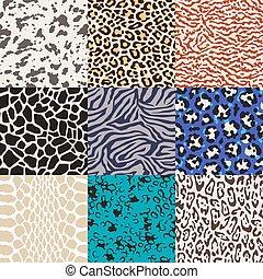wild animal skin pattern set