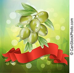 vector olive branch with red ribbon