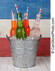 Bucket of Soda with Drinking Straws - Closeup of a bucket of...