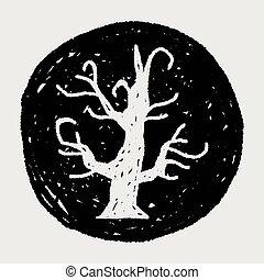 halloween tree doodle