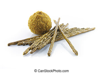 Pretzel Sticks and Scotch Egg - Small tasty scotch egg with...