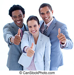 Smiling business team with thumbs up - Portrait of happy...