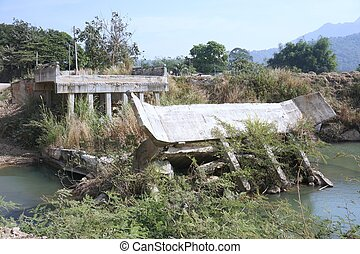 destroyed of bridge from the heavy flood